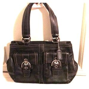 Coach F08A09 Leather with silver hardware